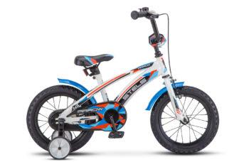 "Arrow 14 V020 blue white 350x228 - Велосипед Стелс (Stels) Arrow 14"" V020, Сталь , р8,5"", цвет  Синий/белый"