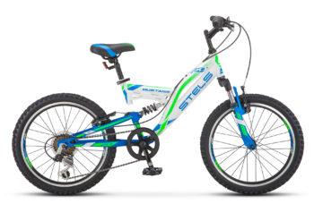"Mustang V 20 V010 white green blue 350x228 - Велосипед Стелс (Stels) Mustang V 20"" V010, Сталь , р13"", цвет Белый"