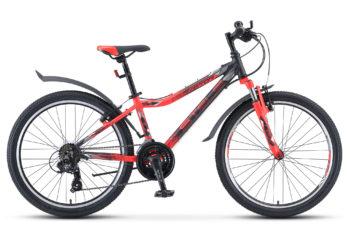 """Navigator 450 V 24 V030 black neon red matt 350x228 - Велосипед Стелс (Stels) Navigator-450 V 24"""" V030, Алюминий , р13"""", цвет   Чёрный/неоновый_красный"""
